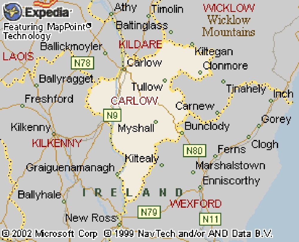 Carlow Map Of Ireland.A Collection Of Maps And Drawings Of County Carlow